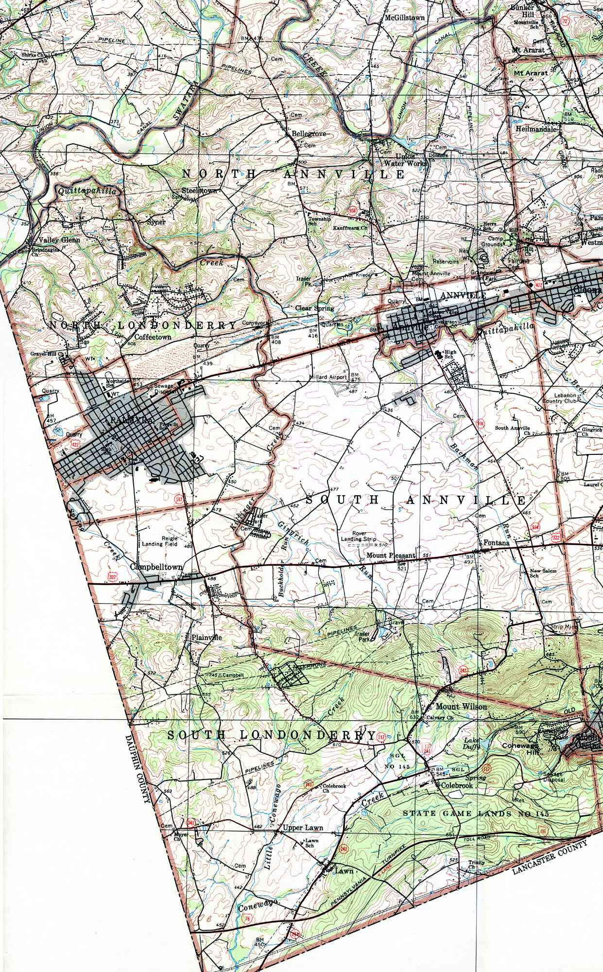 Lebanon County Pennsylvania Township Maps