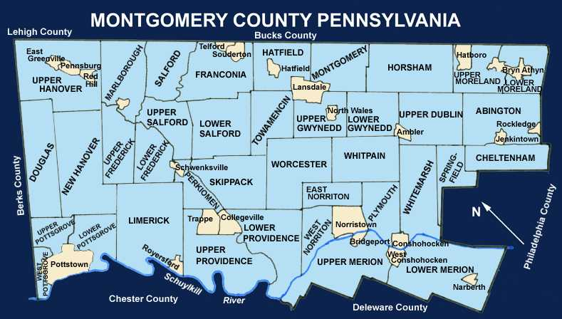 Montco Campus Map.Montgomery County Pennsylvania Township Maps