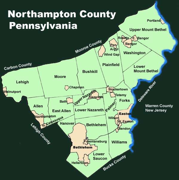 Lehigh Valley Zip Code Map.Northampton County Pennsylvania Township Maps