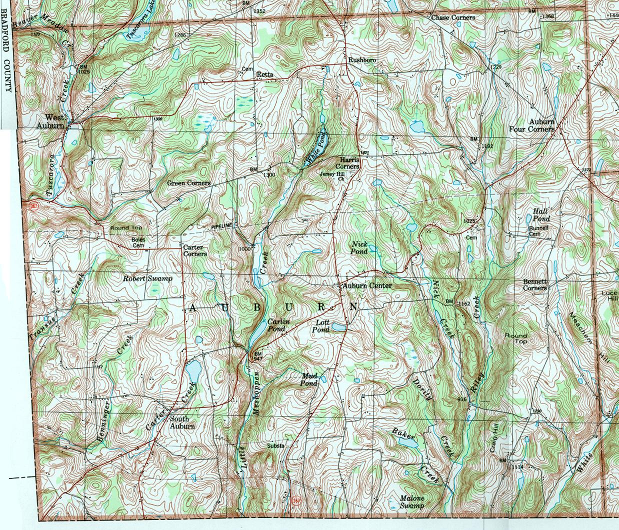 Susquehanna County Pennsylvania Township Maps - Map of four corners area usa