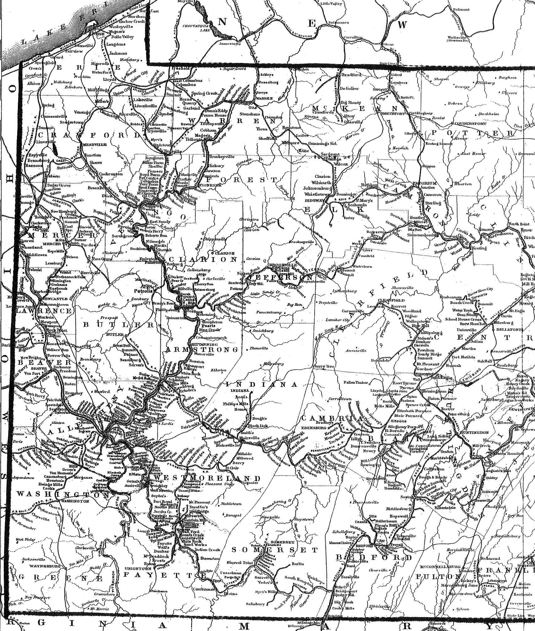 Pennsylvania County USGS Maps - Southwest us county map