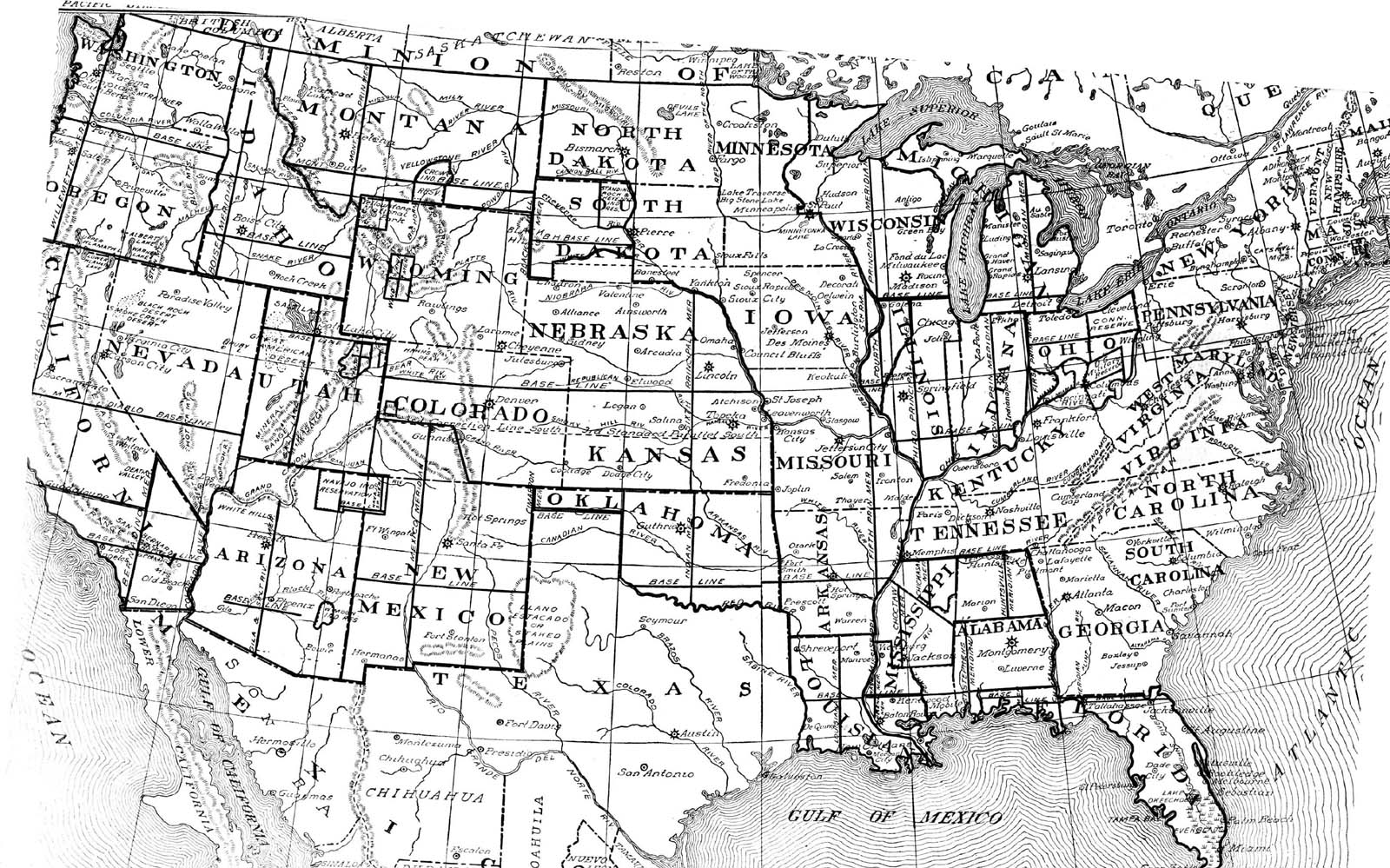 Blank Outline Maps Of The States Of The USA United States Of - Us map with lines of latitude