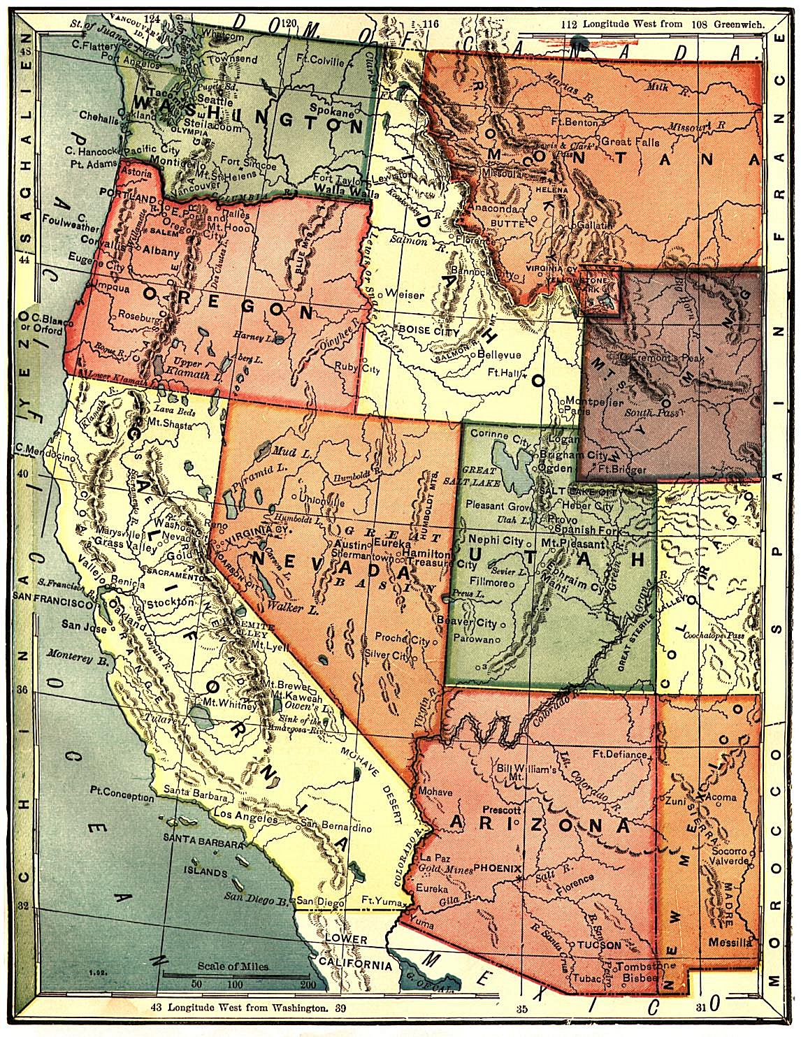 Reference Map Of California USA Nations Online Project California - Physical map of western us