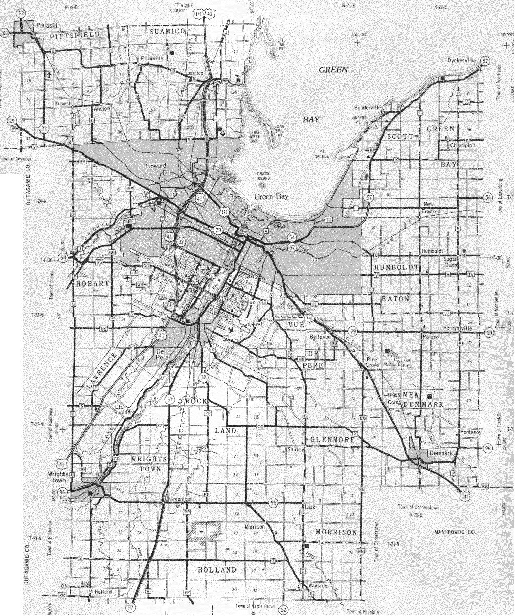 Brown County Wisconsin Maps And Gazetteers - Chicago map by county