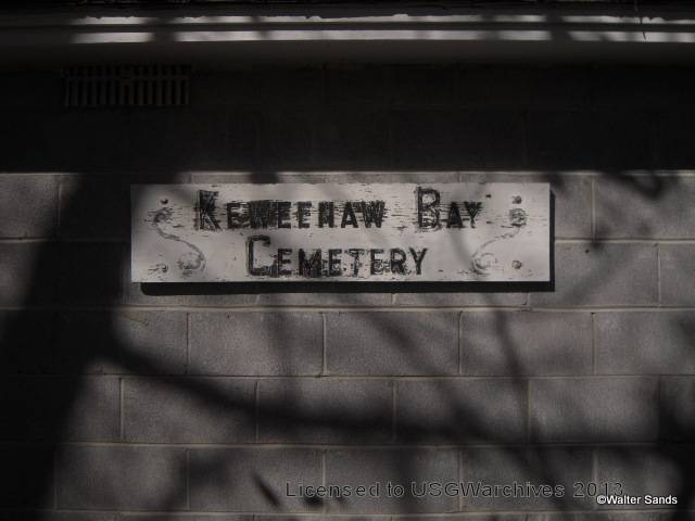 Keweenaw Bay Cemetery sign