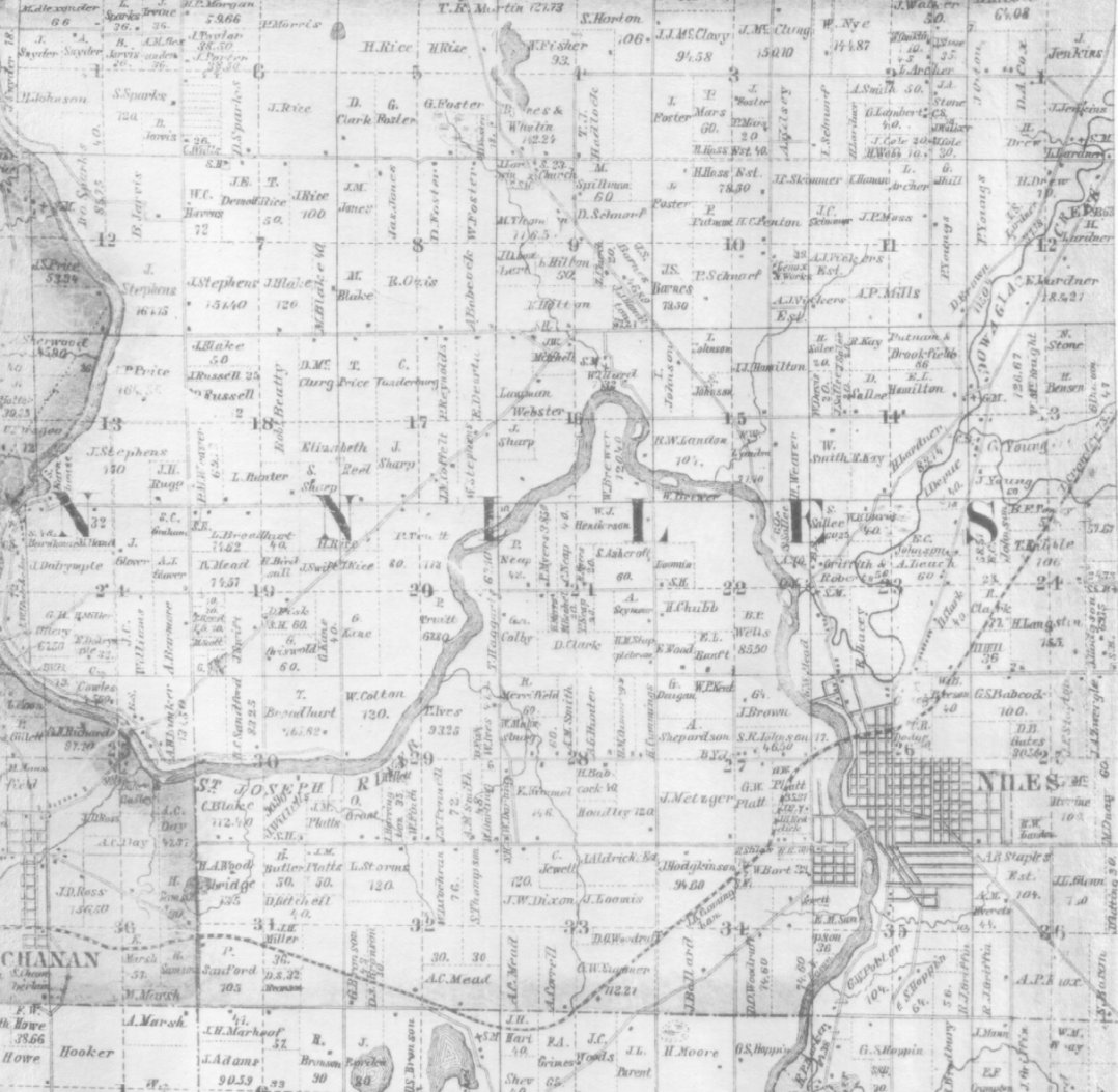 Michigan berrien county niles - 1860 Niles Township Map