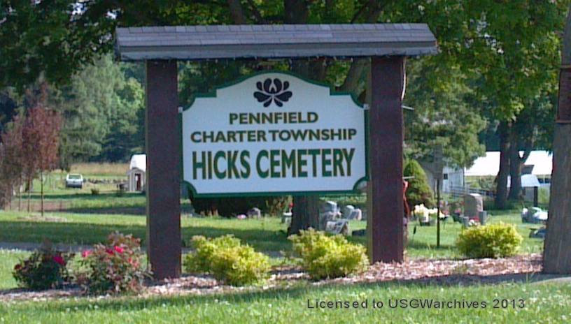 Hicks'/West Pennfield Cemetery sign