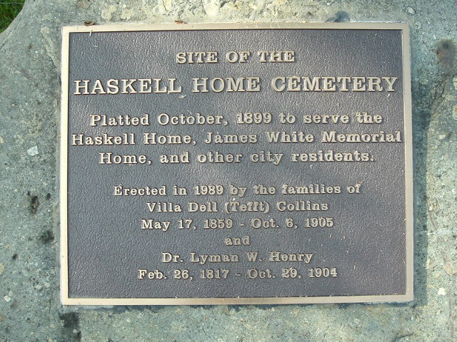 Haskell Home Cemetery Plaque Close Up