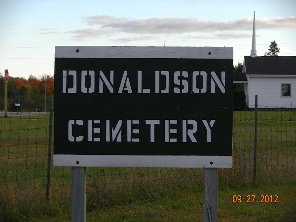 Donaldson Cemetery sign