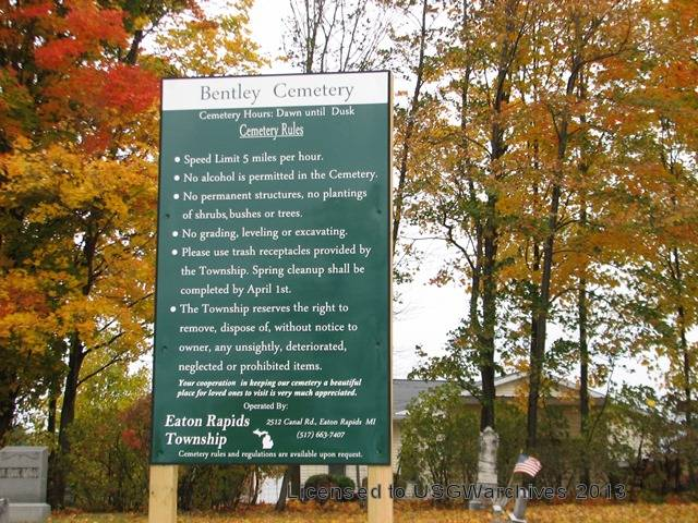 Bentley  Cemetery Sign