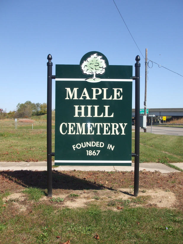 Maple Hill Cemetery sign