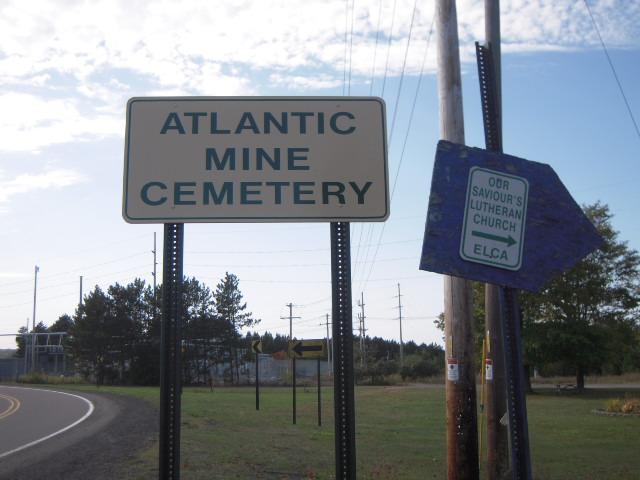Atlantic Mine Cemetery Sign