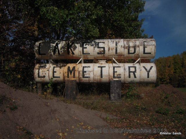 Lakeside Cemetery sign