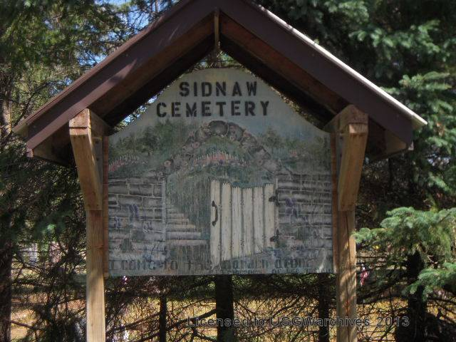 Sidnaw Cemetery sign photo
