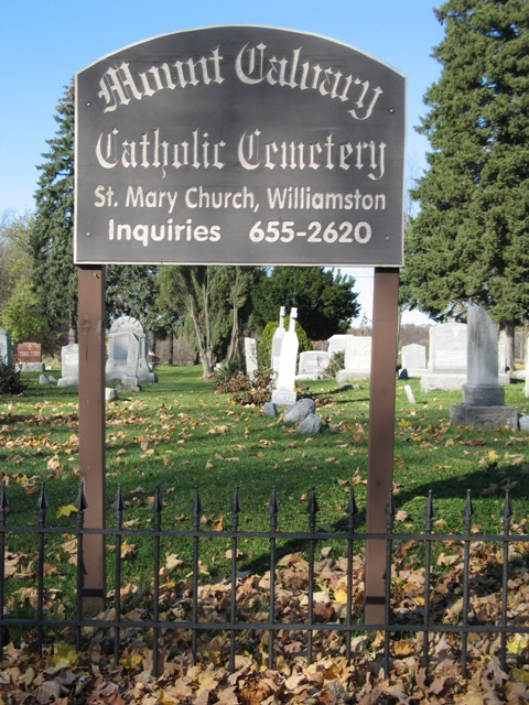 Mout Calvary Catholic Cemetery sign