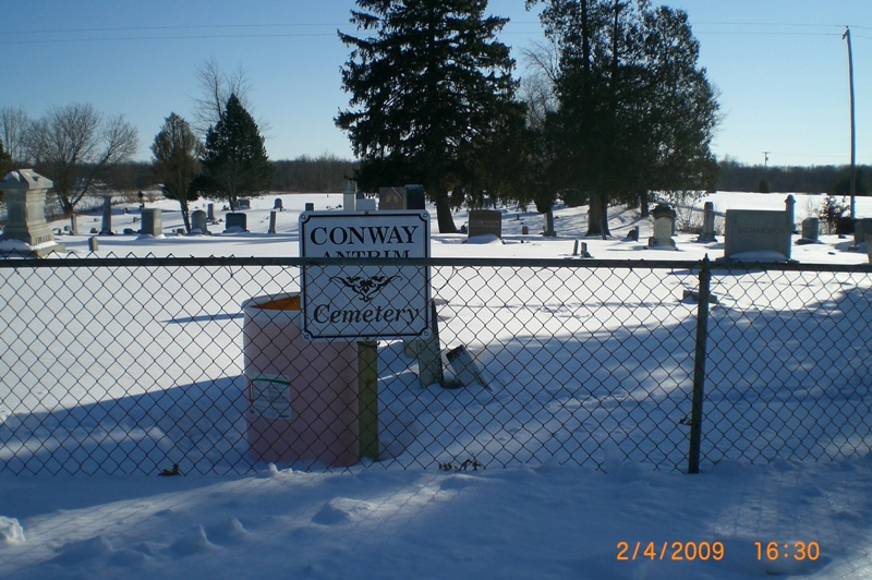 Conway Antrim Cemetery sign