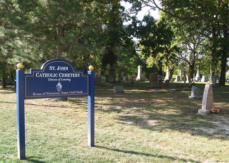 St. John Catholic Church cemetery sign