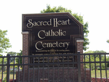 Sacred Heart Catholic Cemetery sign