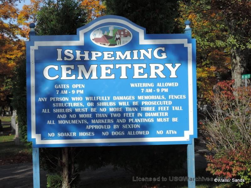 Ishpeming Cemetery Sign