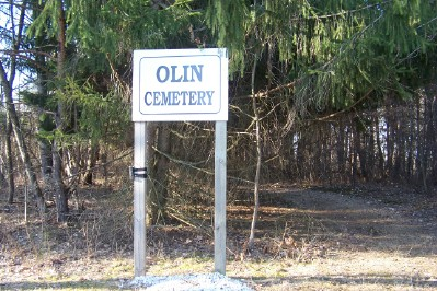 Olin Cemetery sign