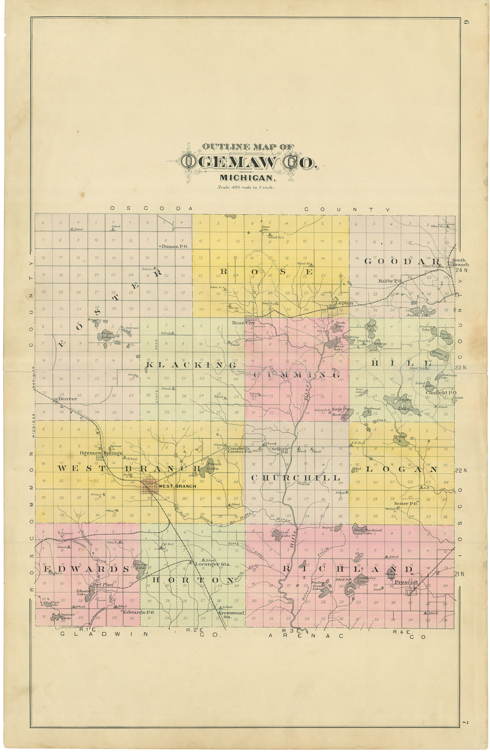 ogemaw county plat book map of ogemaw county pages 6 7