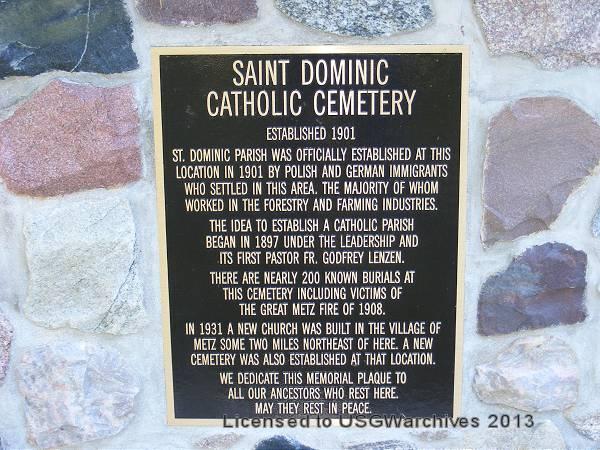 Old Saint Dominic's Cemetery Memorial Plaque