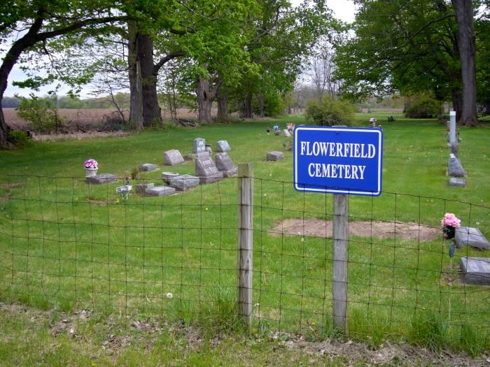 Flowerfield Cemetery sign