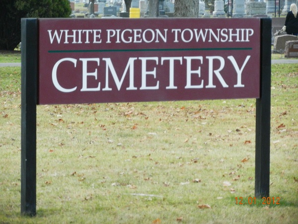 White Pigeon Township Cemetery sign