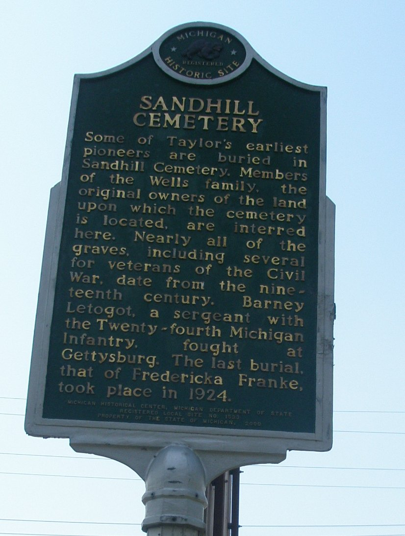 Sandhill Cemetery Sign