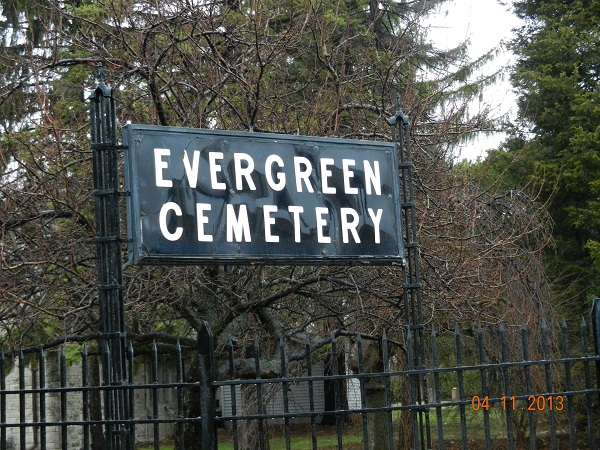 Evergreen Cemetery sign
