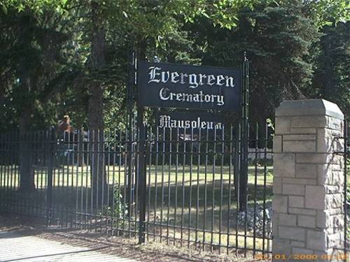 Evergreen Cemetery Crematory/Mausoleum sign