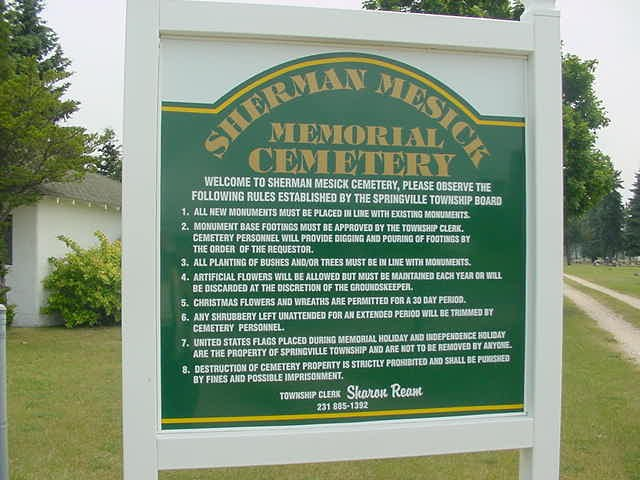 Sherman-Mesick Cemetery Sign