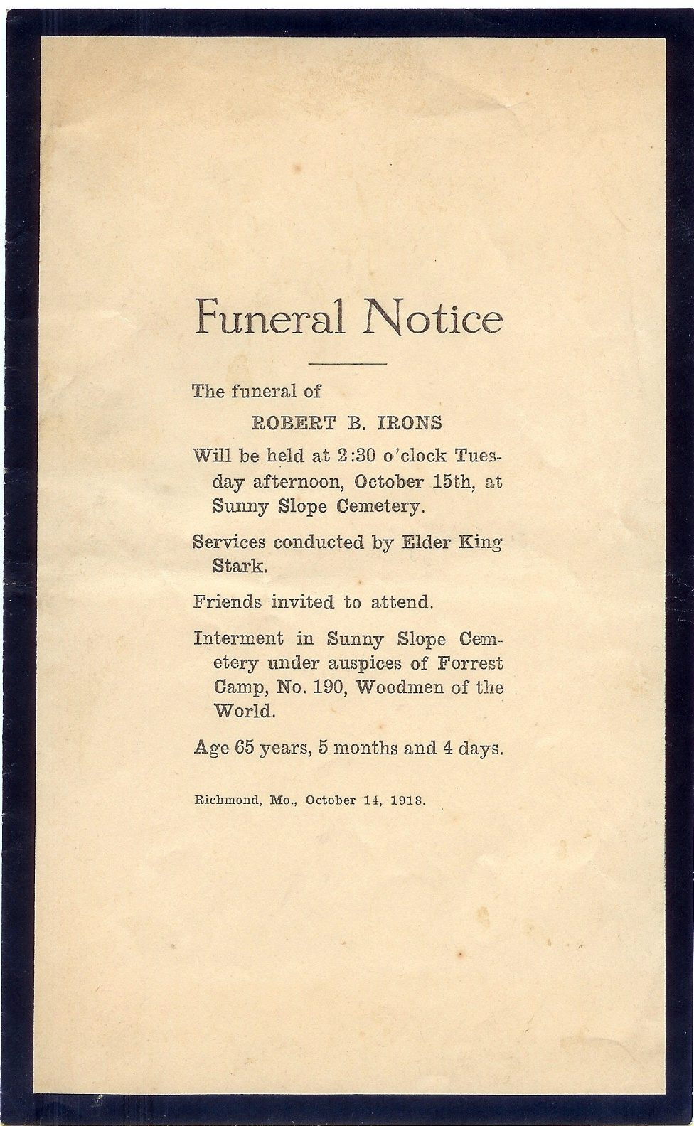 Ray County Missouri Genweb Archives Funeral Notices