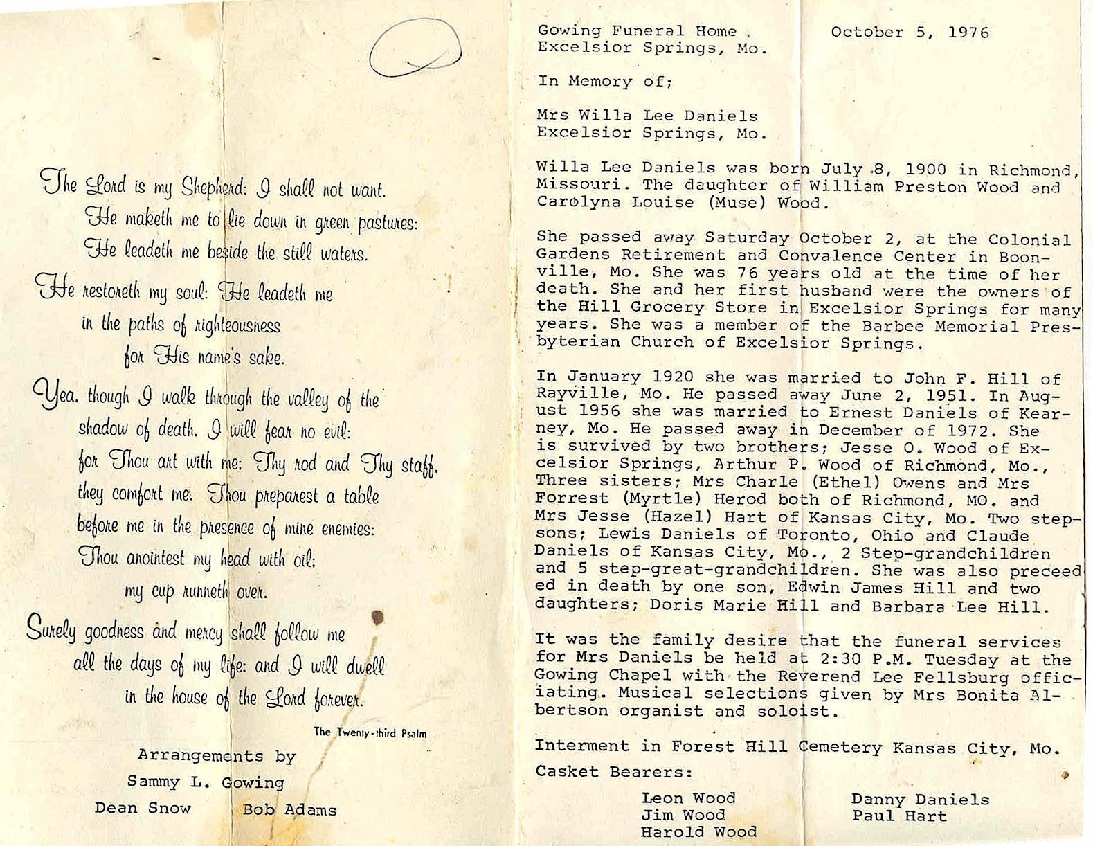 Ray County, Missouri, GenWeb Archives - Obituaries