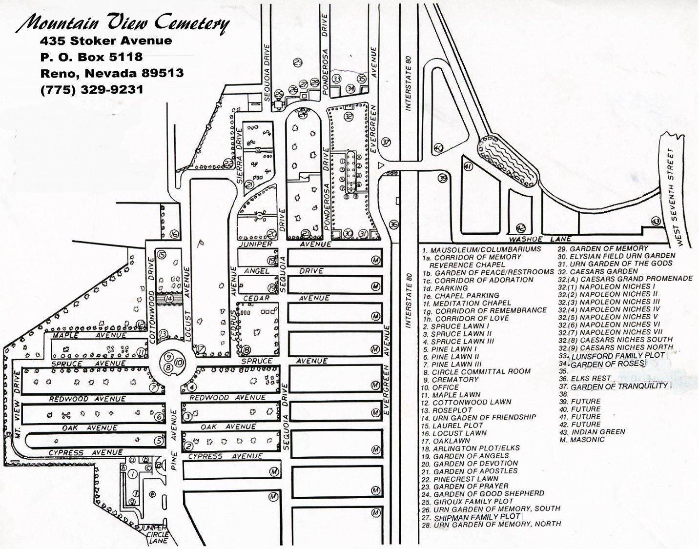 Cemetery - Street map of reno nv