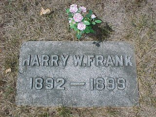 Frank Family Plot (Only one stone) Lot #502, Section L.  Harry W. Frank, s/o Henry C. Frank 1892-1897