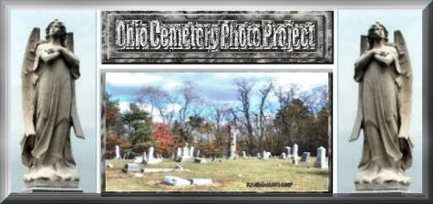 Ohio Tombstone Photo Project logo, two angels, title in stone above a cemetery image