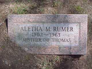 Aletha Rumer, 1902-1963, w/o Arthur