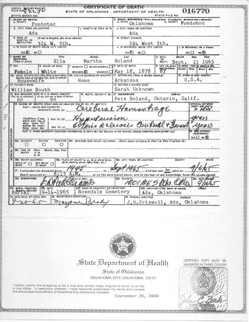 Pontotoc co ok vital records ella martha roland death certificate 1betcityfo Gallery