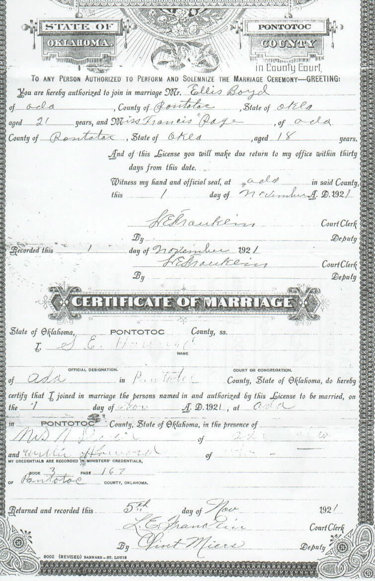 Pontotoc co ok vital records ellis boyd francis page marriage license 1betcityfo Images