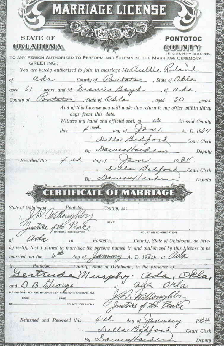 Pontotoc co ok vital records aultie roland francis boyd marriage license 1betcityfo Images