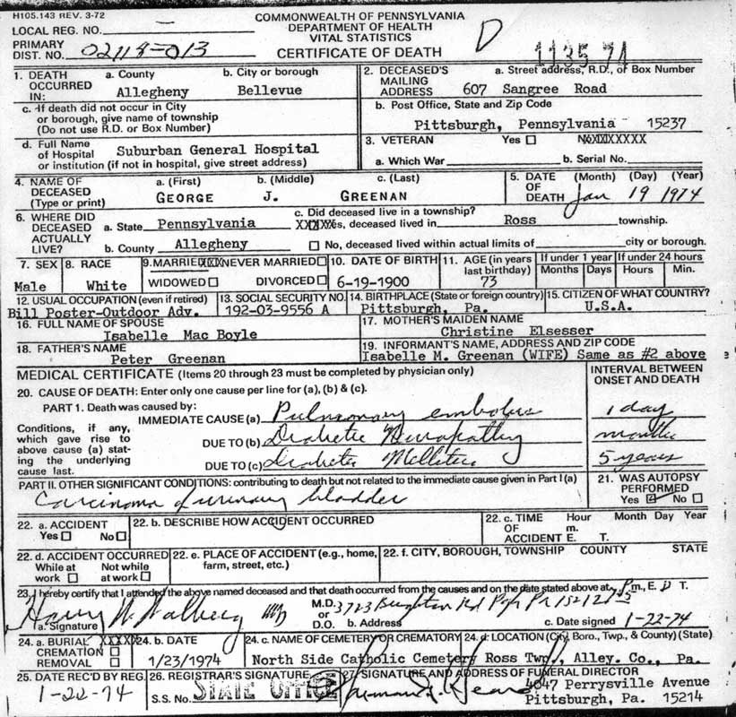 Cook County Death Certificate Image collections - creative ...