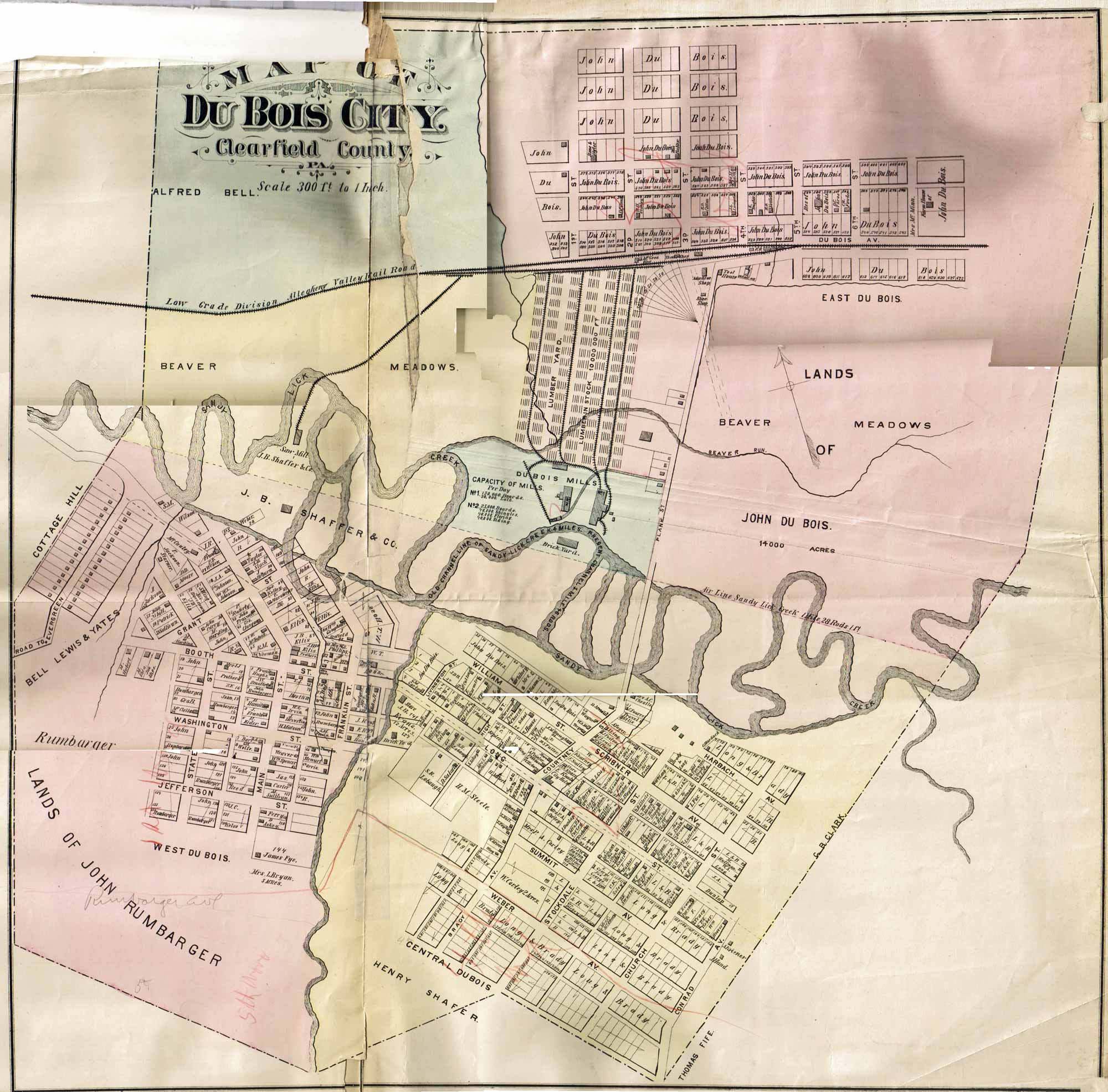 1797 PA MAP LACKAWANNA CLEARFIELD NORTHAMPTON COUNTY Swissvale Westmont SURNAMES