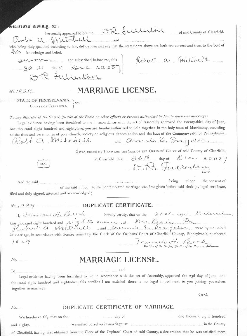 Clearfield county pagenweb archives marriage records mitchell01 xflitez Gallery