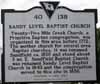 Sandy Level Baptist Church Historical Sign - Front
