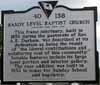 Sandy Level Baptist Church Historical Sign - Reverse