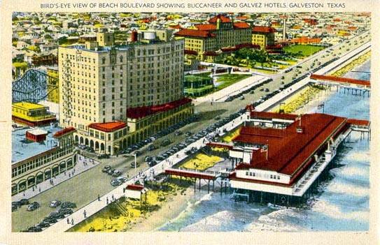Bird S Eye View Of Beach Boulevard Showing Buccaneer And Galvez Hotels Galveston