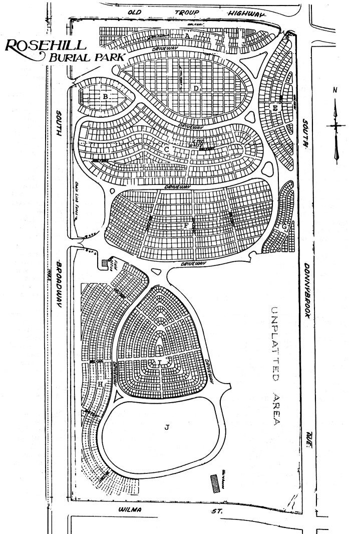 Rose Hill Cemetery Map