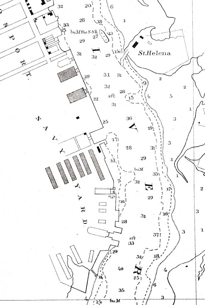 Norfolk Harbor Map 1857 Partial Section U S Coast Survey Office Courtesy Of Marcus W Robbins